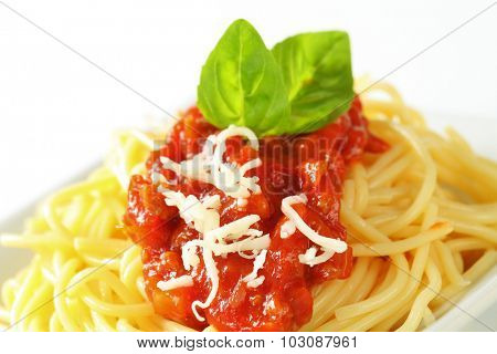 spaghetti with tomato bolognese sauce and grated cheese
