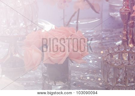 Candlestick, Bunch Of Orange Rose And Crystal Ornament With Soft Focus And Color Filter
