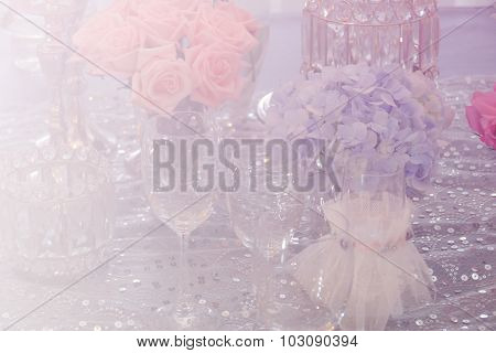 Wine Glass, Candlestick, Bunch Of Purple Hydrangea, Orange Rose And Crystal Ornament With Soft Focus