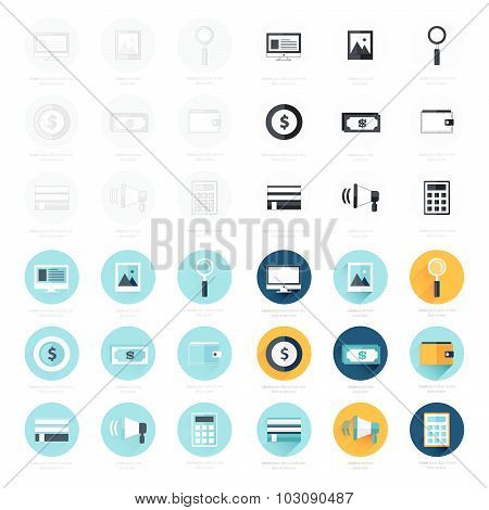 Flat Design Icons Set 4 Styles