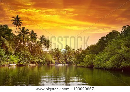 Sunrise in picturesque lagoon