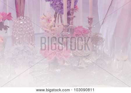 Wine Glass, Bunch Of Purple Hydrangea, Pink Rose And Crystal Ornament With Soft Focus