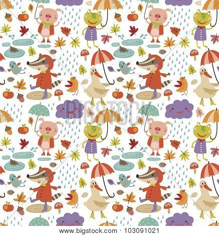 Joyful autumn pattern. seamless pattern