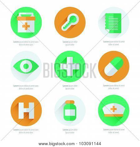 Flat Icons Set Of Medical Tools