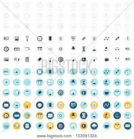 Business Flat Design Icons Set 4 Styles. Big Pack