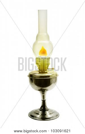 Burning kerosene lamp isolated on white