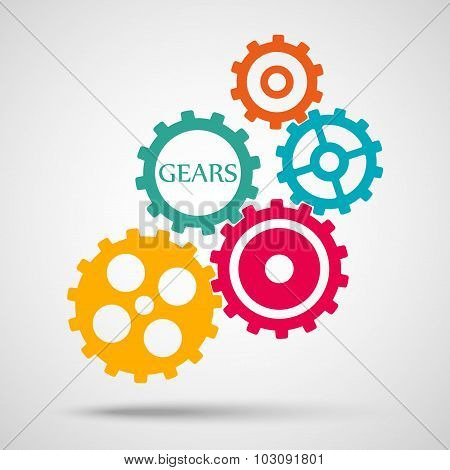 colored toothed gears (cogs) is meshed on gray background. vector illustration eps10