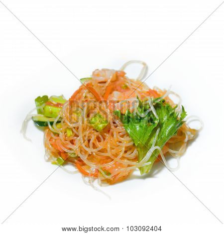 Prawn Sesame Noodle With Shrimps And Vegetables Isolate On White