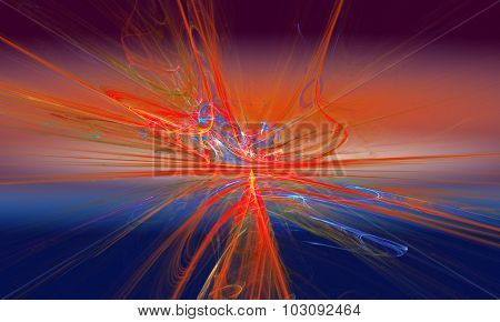 Shining a fantastic red line in a furious movement go beyond the horizon. Fractal art graphics