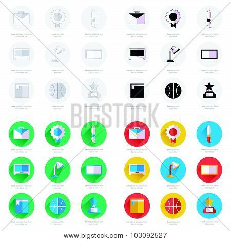 Set Of Flat School And Education Icons Set