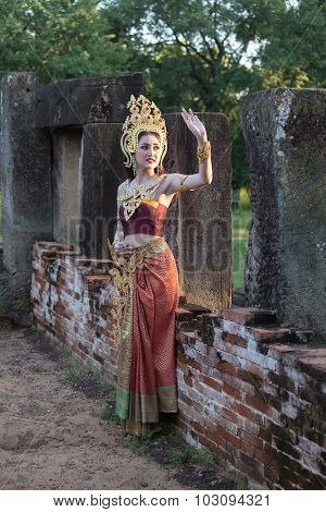 Unidentified Woman With Thai Dress At Phanomwan Historical Park
