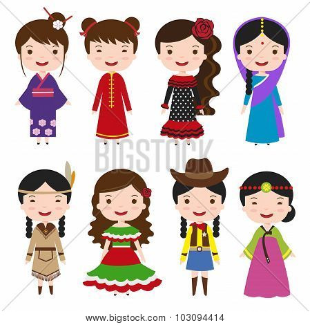 Dress Girls In Traditional Costumes