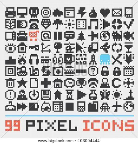 Pixel art web icons vector set