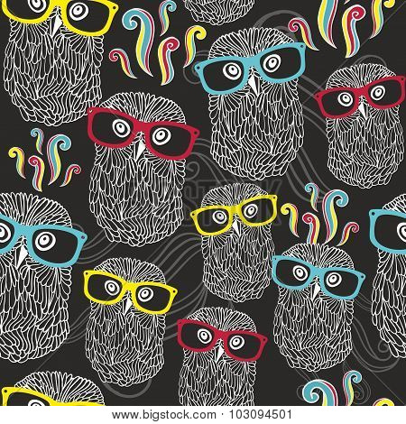 Night seamless pattern with disco owls in sunglasses.