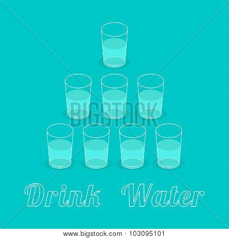 Drink Eight Glasses Of Water. Pyramid Set. Healthy Lifestyle Concept. Infographic. Flat Design.