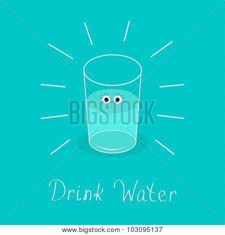 Big Shining Glass With Eyes. Drink Water Baby Infographic. Flat Design.