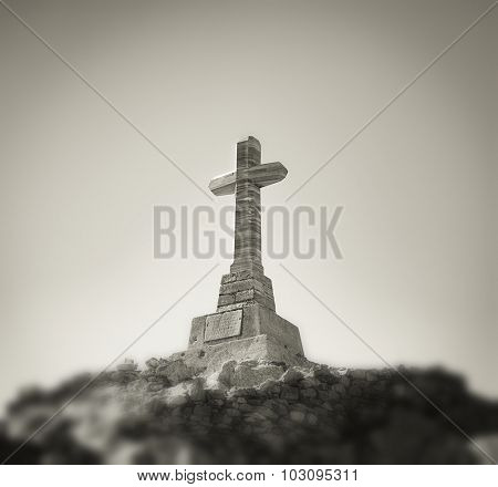 Cross on a high mountain, Tinos Island, Greece. 