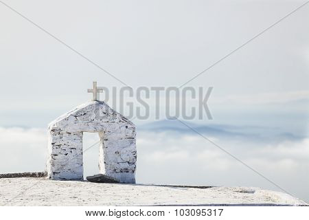 Greek church on the high mountain, Tinos, Greece. 