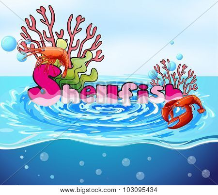 Lobster and coral reef in the ocean illustration