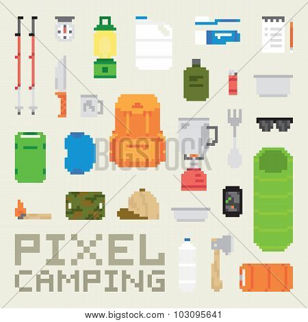 Pixel art camping goods isolated vector objects