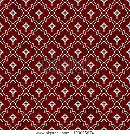 Red And White Celtic Cross Symbol Tile Pattern Repeat Background