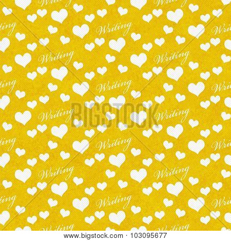 Yellow And White I Love Writing Tile Pattern Repeat Background