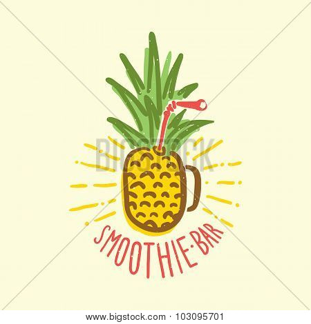 Smoothie bar pineapple cup vector