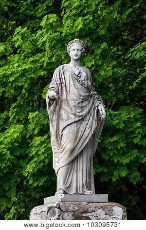 Marble statue of roman Ceres or greek Demeter in the park of the Palace and park complex Estate of G. Galagan. Sokyryntsi village Ukraine
