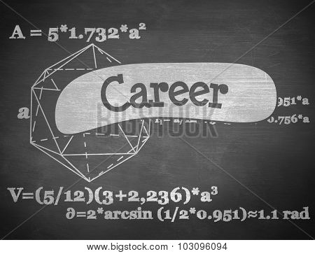 The word career and geometry problem against black background