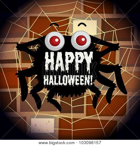 Happy halloween poster with spider web illustration