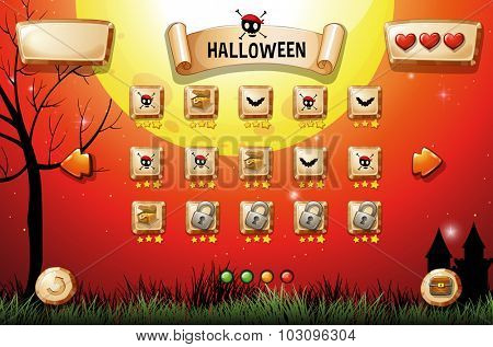 Game template with halloween theme illustration