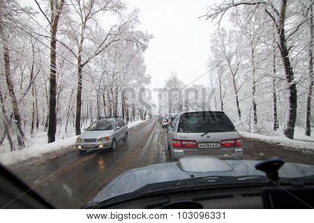 Khabarovsk, Russia - May 06, 2015: Snow In May