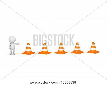 3D Character Showing Road Cones