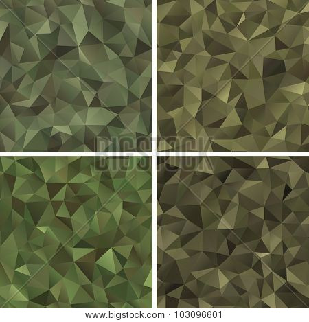 Set of Abstract Military Camouflage Backgrounds