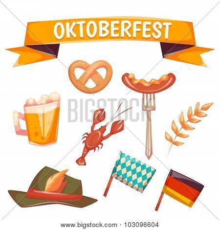 Set with oktoberfest celebration symbols. Vector illustration