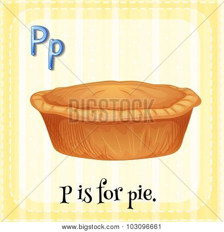 Flashcard letter P is for pie illustration