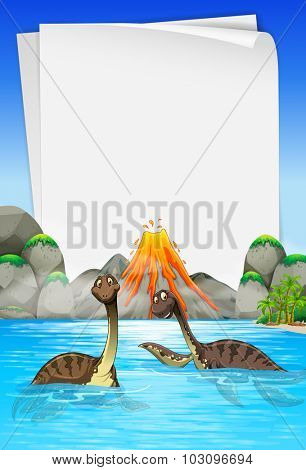 Brachiosaurus swimming in the lake illustration