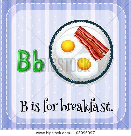 Flashcard letter B is for breakfast illustration