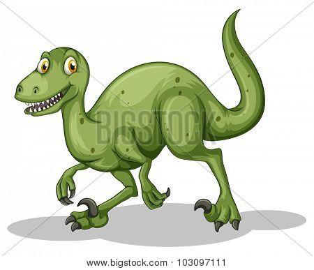 Green dinosaur with sharp teeth illustration