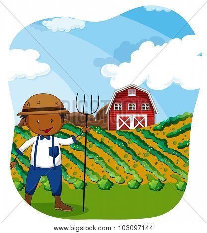 Farmer working in the farmland illustration