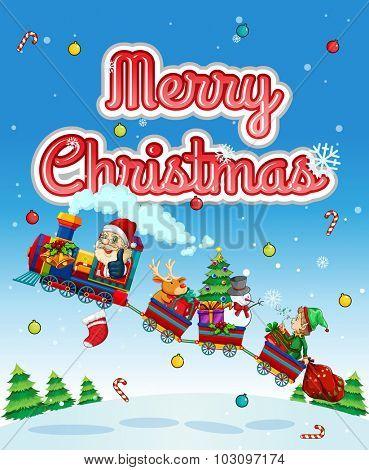 Merry Christmas card with Santa on train illustration