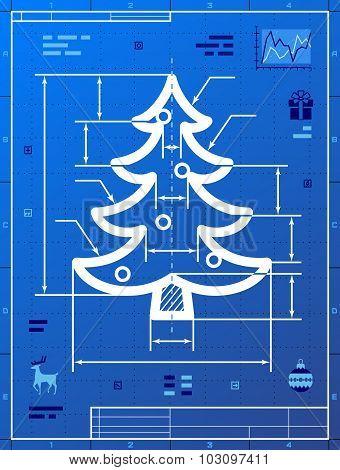 Christmas Tree Symbol As Blueprint Drawing