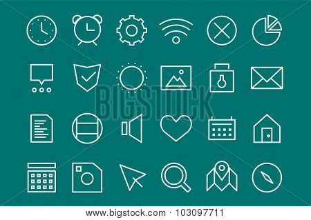 Outline vector UI user interface technology white icons set. Web net vector ui hud gui user interface icons for web and mobile app. Application, web interface, GUI interface, UI interface, HUD web
