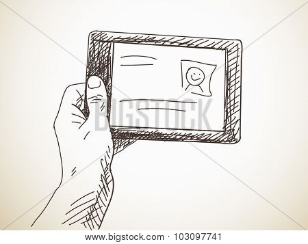 Hand holding a tablet, Hand drawn illustration, Vector sketch
