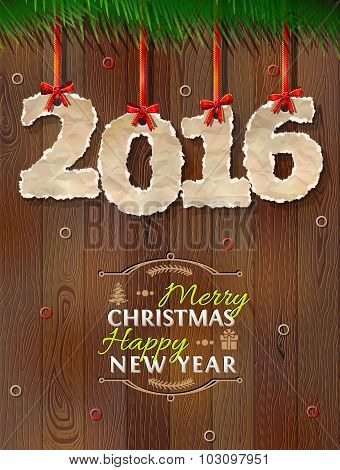 New Year 2016 Of Crumpled Paper Against Wood Background