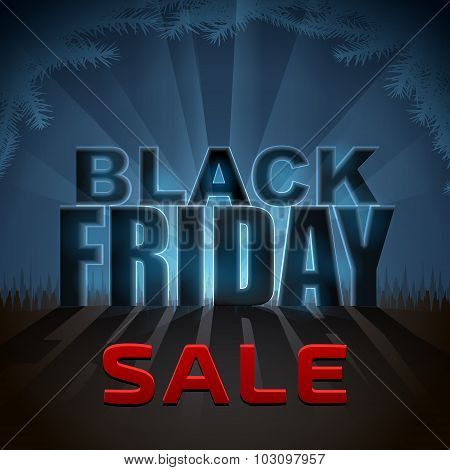 Black Friday Sale Element With Back Light Effect