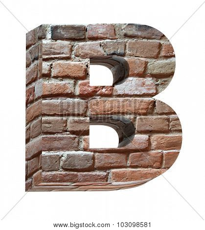 One letter from old brick alphabet set, isolated on white. Computer generated 3D photo rendering.