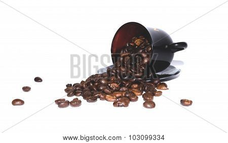 coffee beans scattered on white background, brown coffee cup