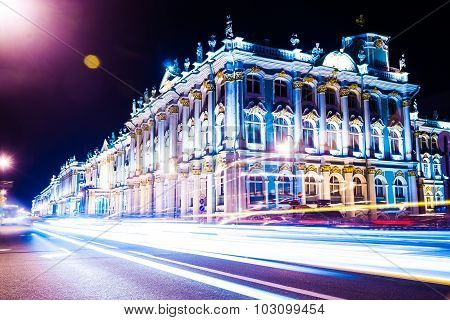 Beautiful night view of Winter Palace in Saint Petersburg.