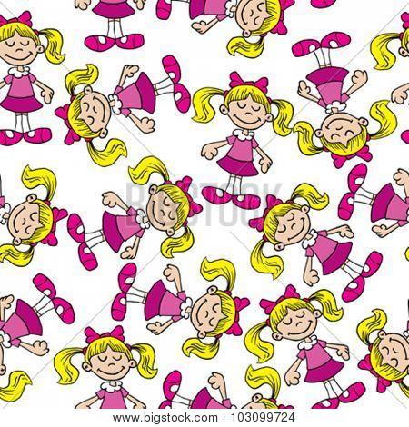 little girl in pink dress seamless pattern